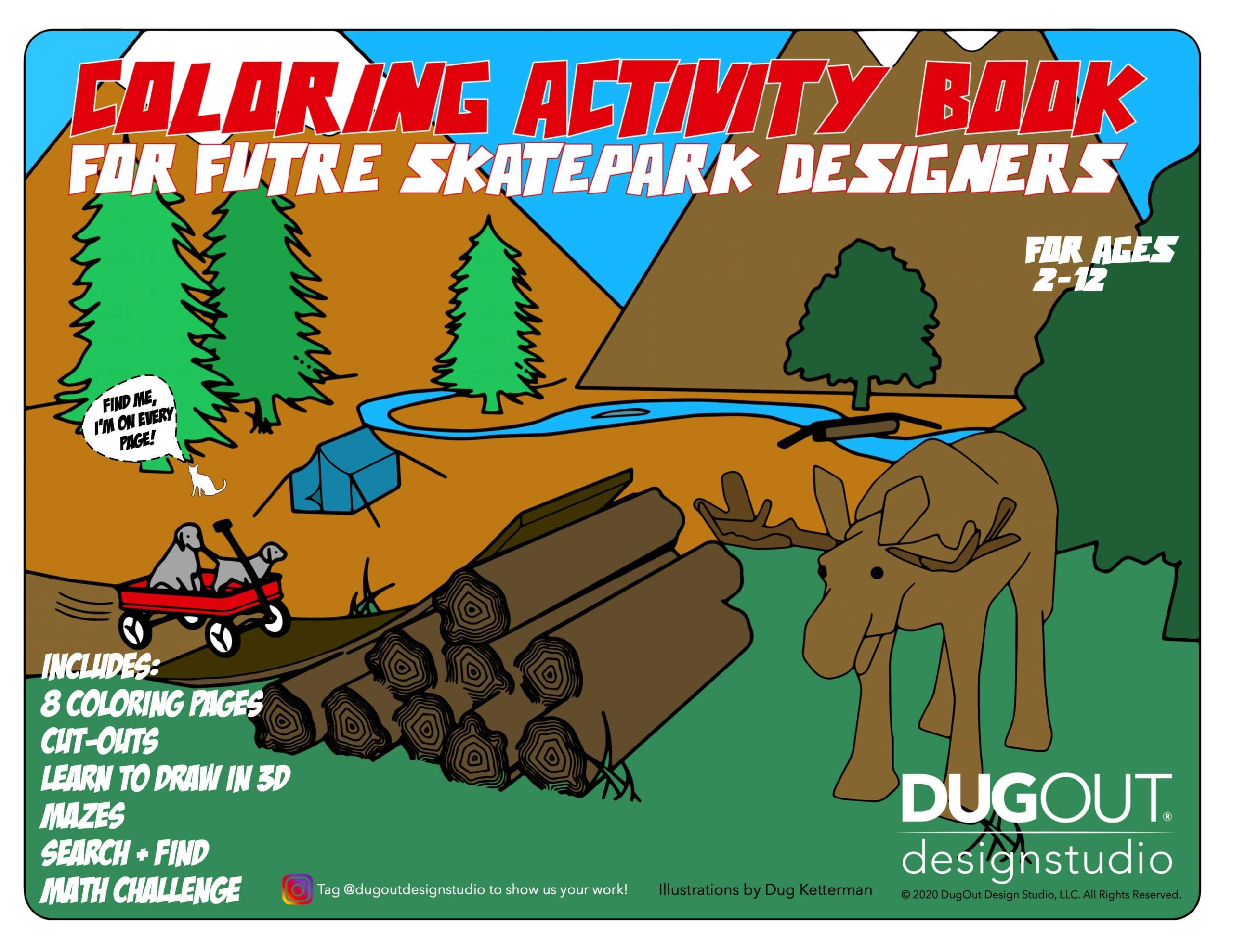 Coloring and Activity Book for Future Skatepark Designers Cover by DugOut Design Studio
