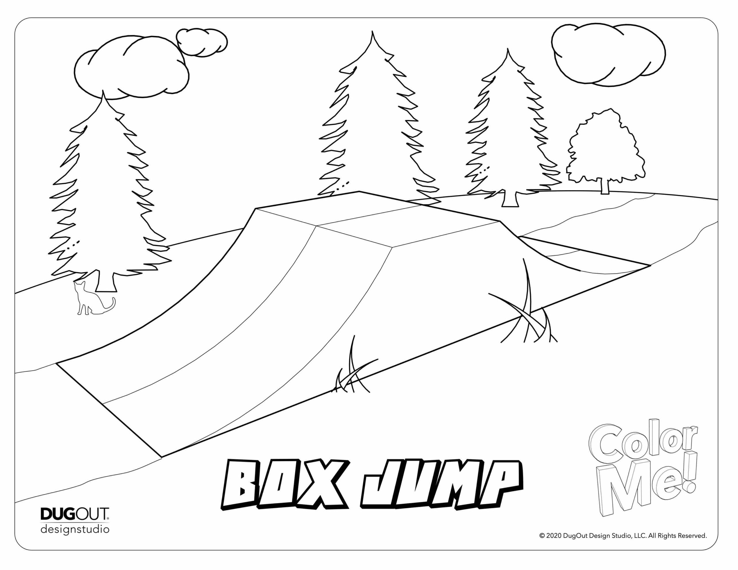Box Jump coloring page in forest setting