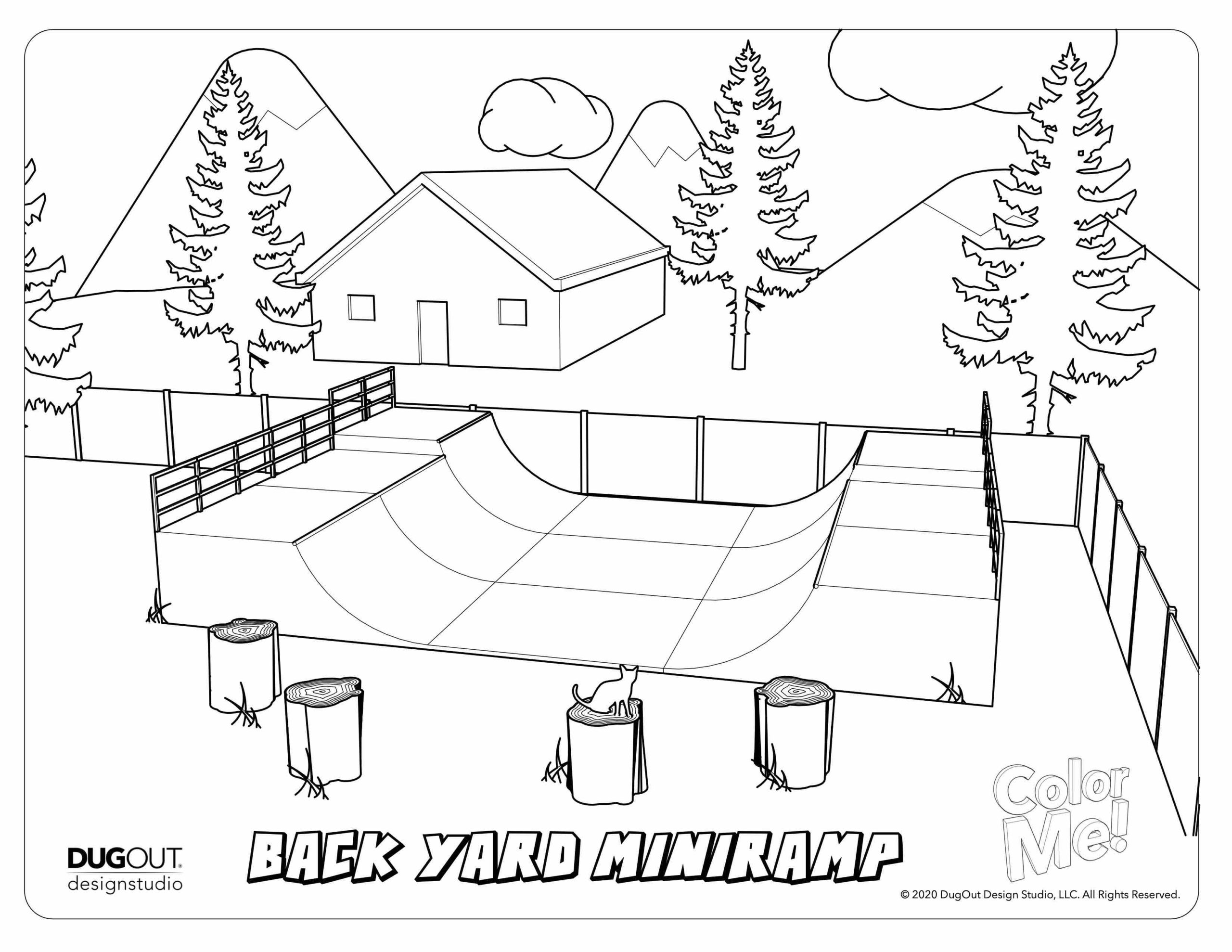 Backyard Mini-Ramp Coloring Page