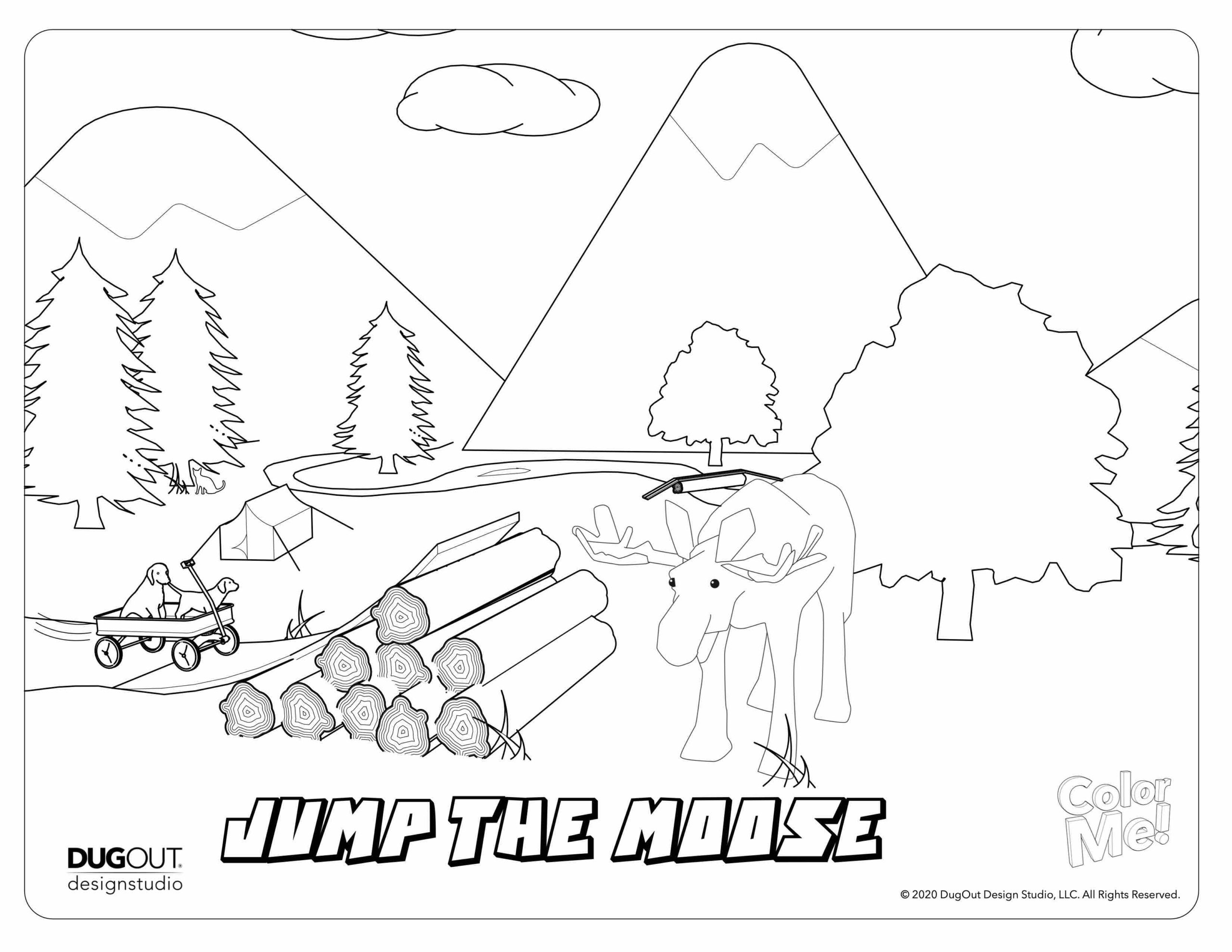 jump the moose coloring page with doggies in wagon