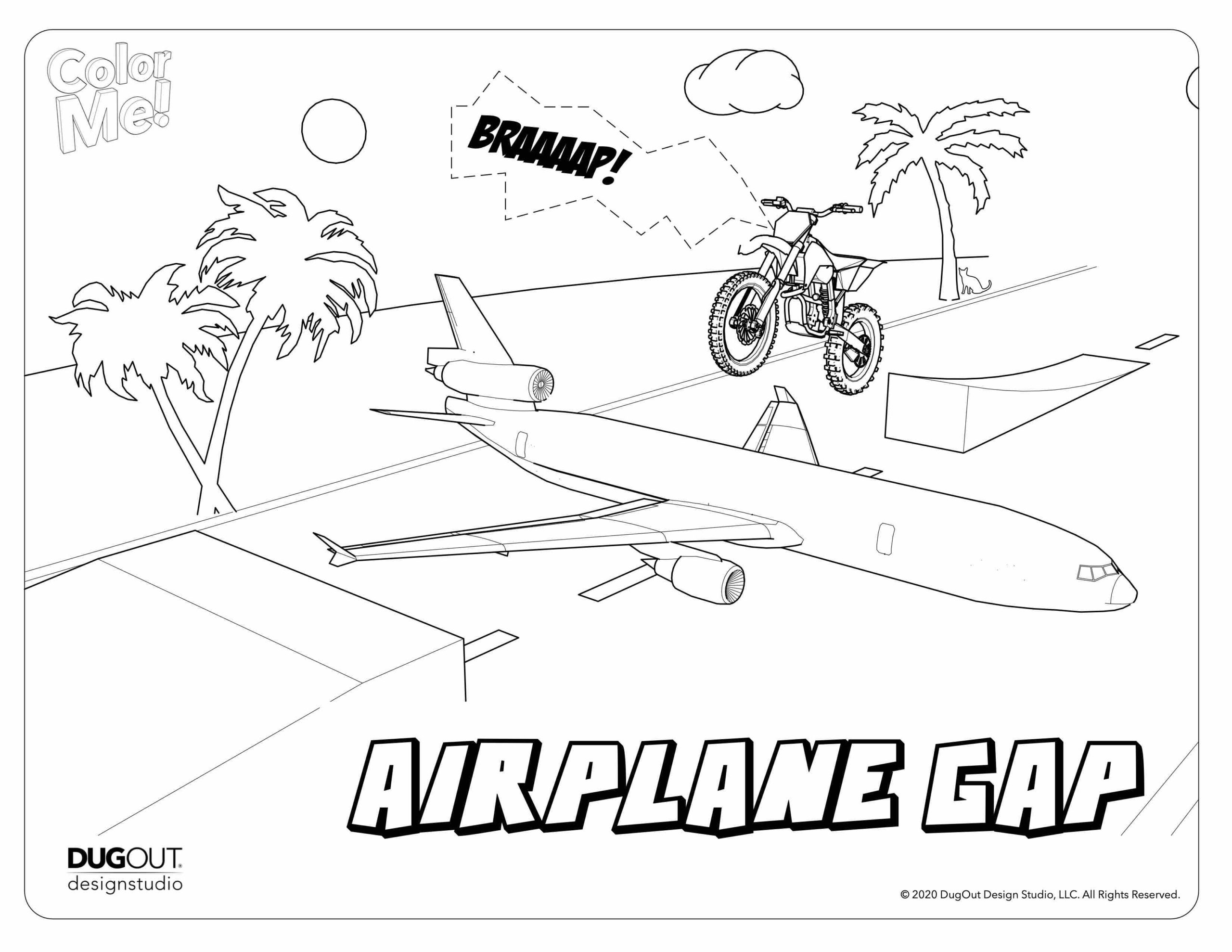 Airplane Gap coloring page with motorcycle launching over airplane