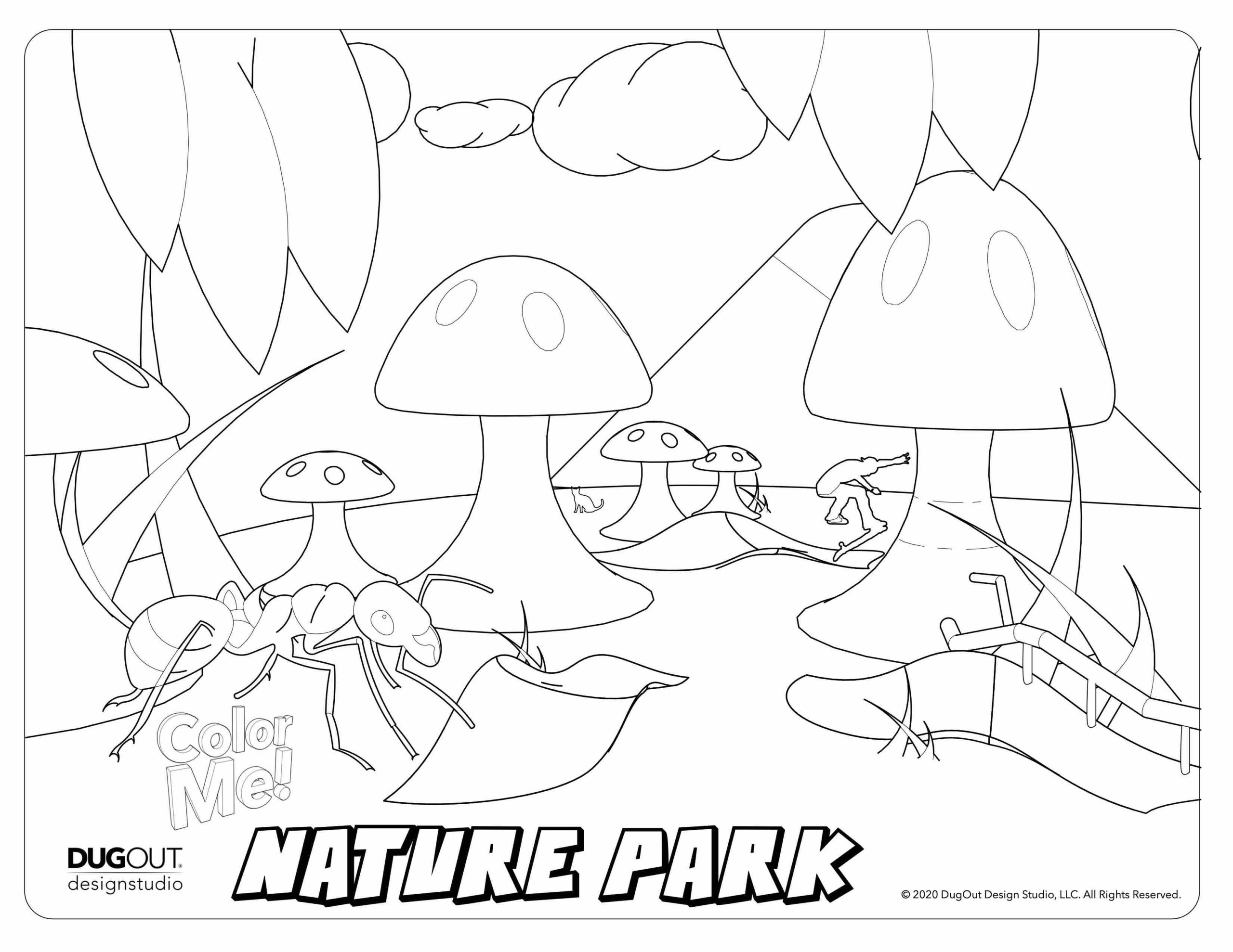 Nature park coloring page with large ant and mushrooms