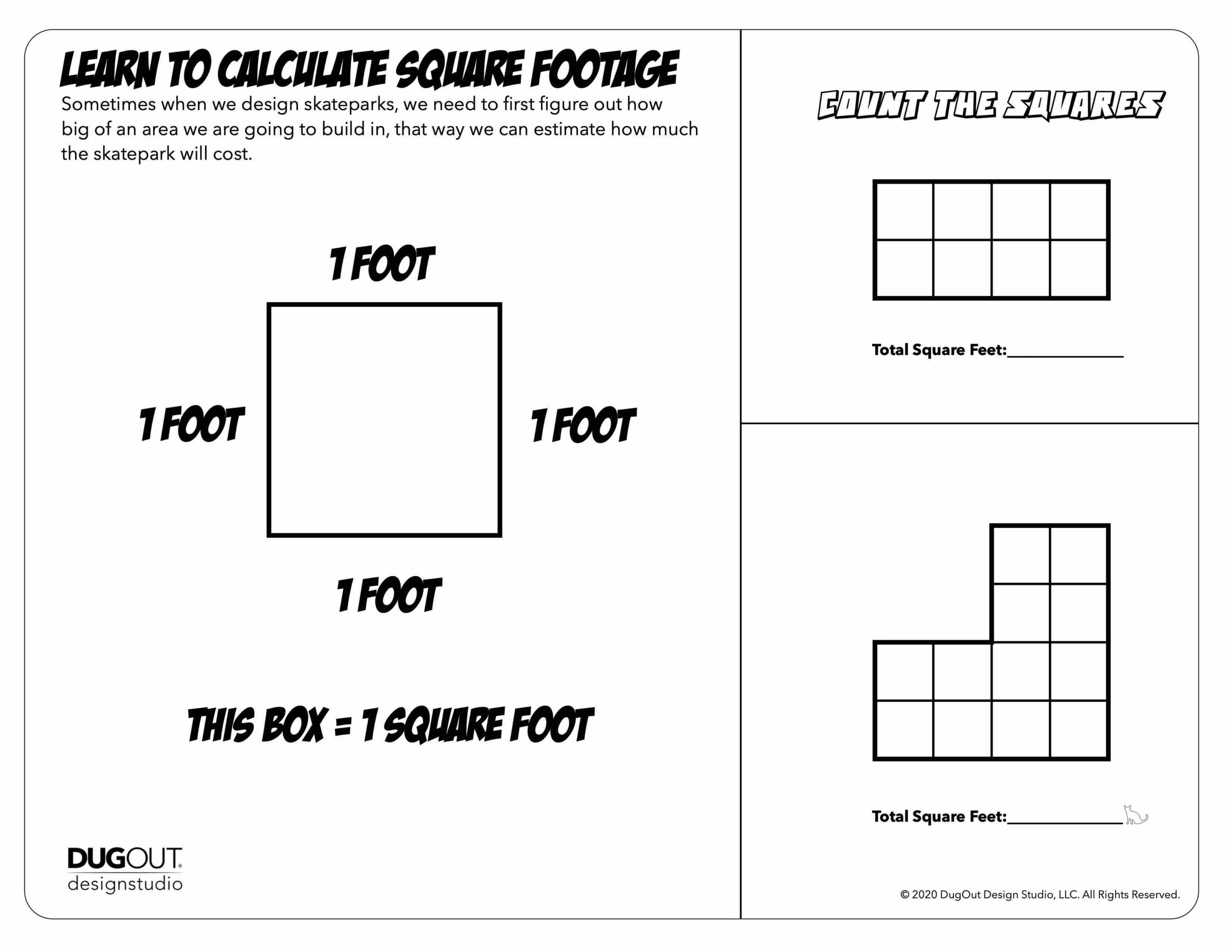 Skatepark Design Activity Page: Calculating Square Footage, Beginner