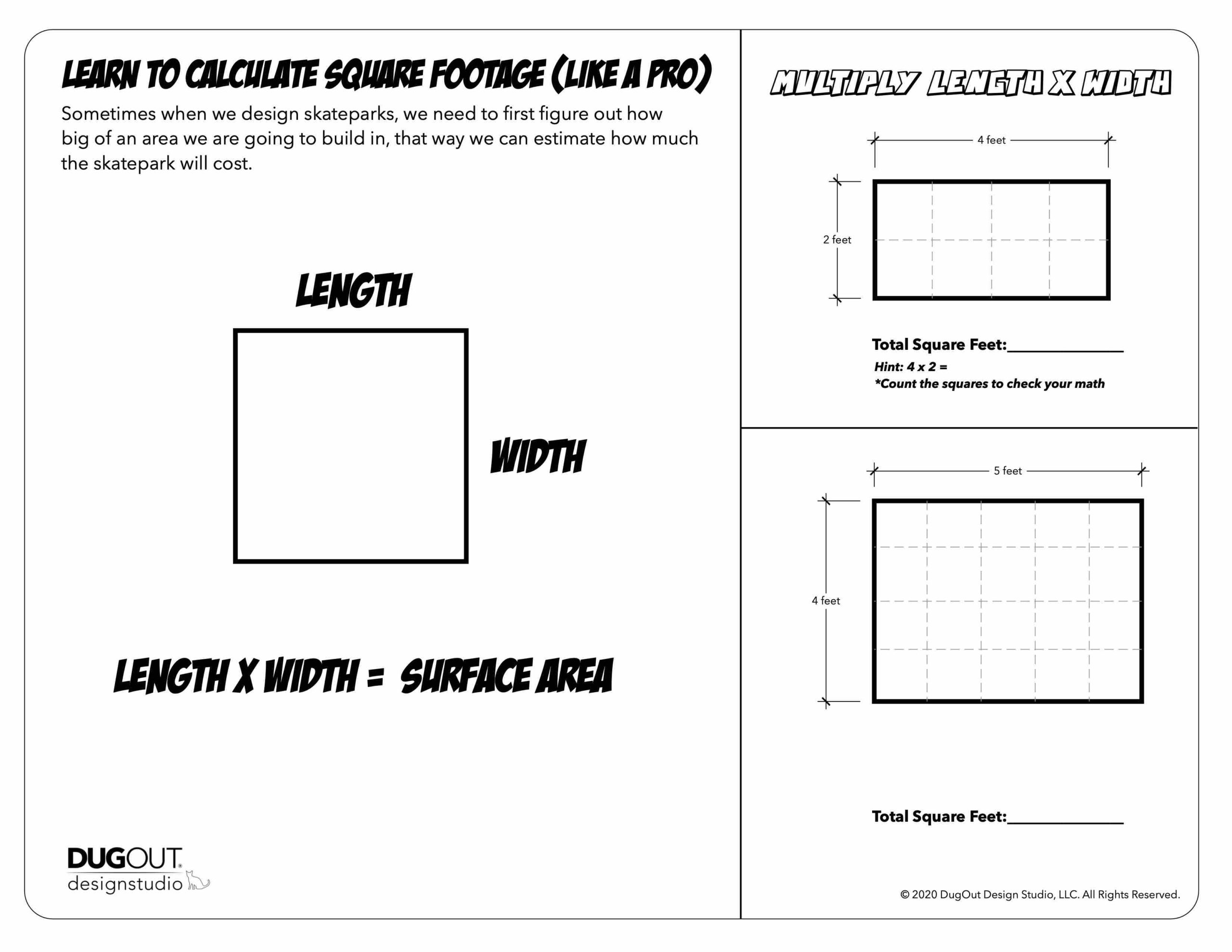 Skatepark Design Activity: Calculate square footage