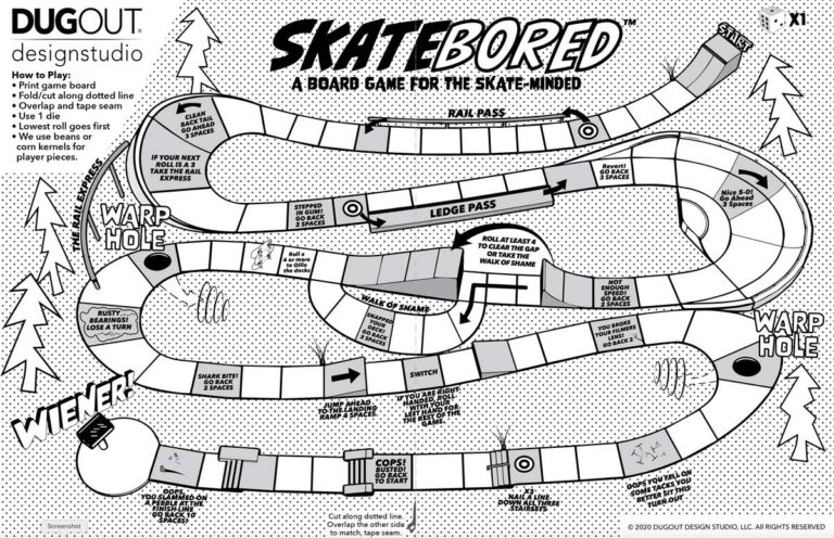 Created by DugOut Design Studio. Skatebored is a board game for the skate-minded